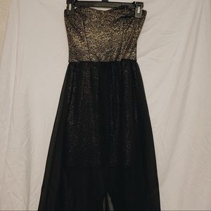 BLACK AND GOLD HIGH LOW STRAPLESS DRESS